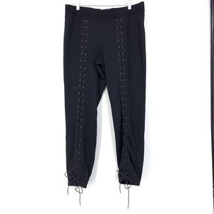 Pam & Gela Sz L Lace Up Legs Black Sweatpants